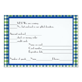 Lime Green and Blue Plaid RSVP Card