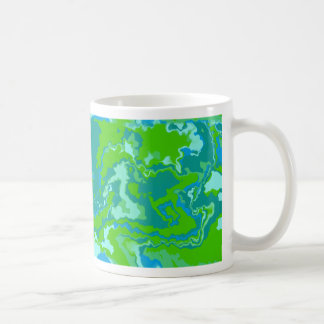 Lime Green and Blue Squiggles Design Coffee Mug