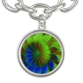 Lime Green and Blue Star Burst Charm Bracelet