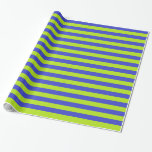 Lime Green and Blue Stripes Wrapping Paper