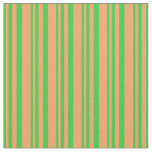 [ Thumbnail: Lime Green and Brown Colored Lined Pattern Fabric ]