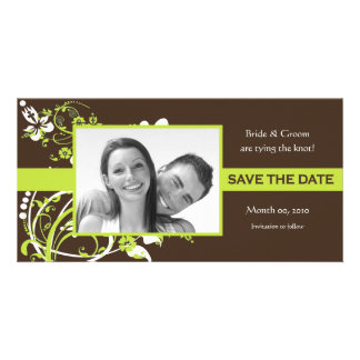 Lime Green and Brown Save the Date Photo Cards