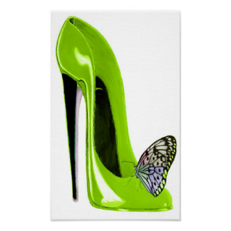 Lime Green and Butterfly Art Print