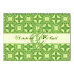 Lime Green and Cream Crosses and Squares Wedding Custom Invitation