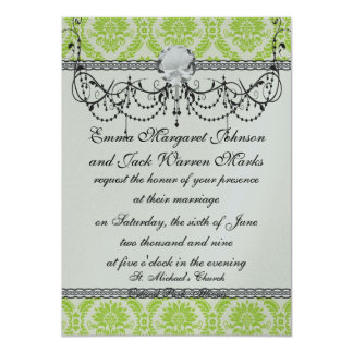 lime green and cream elegant damask pattern card