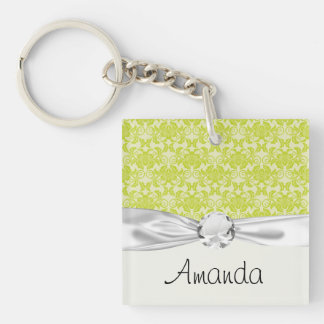 lime green and creme floral damask pattern Double-Sided square acrylic keychain