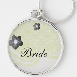lime green and creme floral damask pattern Silver-Colored round keychain