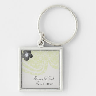 lime green and creme floral damask pattern Silver-Colored square keychain