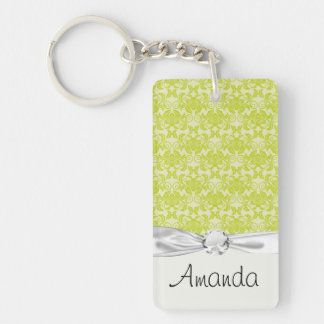 lime green and creme floral damask pattern Single-Sided rectangular acrylic keychain