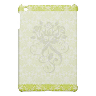 lime green and creme floral damask pern iPad mini cases
