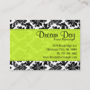 Lime green business cards zazzle lime green and damask business card reheart