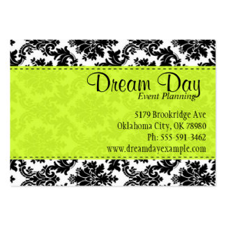 Lime Green and Damask Large Business Cards (Pack Of 100)
