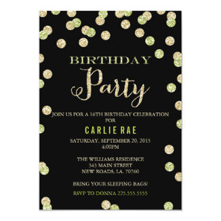 Lime Green and Gold Glitter Birthday Invitations