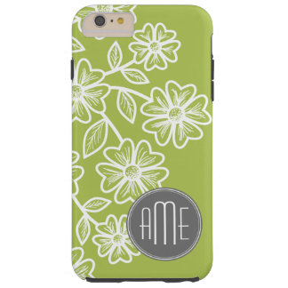 Lime Green and Gray Floral Pattern with Monogram Tough iPhone 6 Plus Case