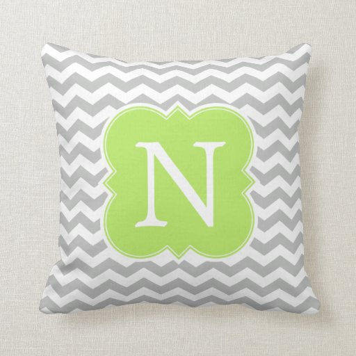 Lime Green and Gray Monogram Chevron Stripes Throw Pillow Zazzle