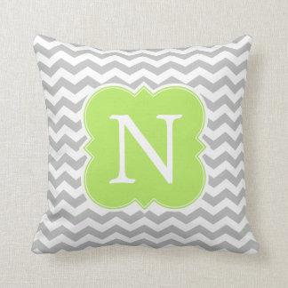 Lime Green and Gray Monogram Chevron Stripes Throw Pillow