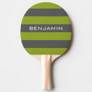Lime Green and Gray Rugby Stripes with Custom Name Ping-Pong Paddle