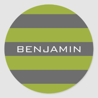 Lime Green and Gray Rugby Stripes with Custom Name Classic Round Sticker