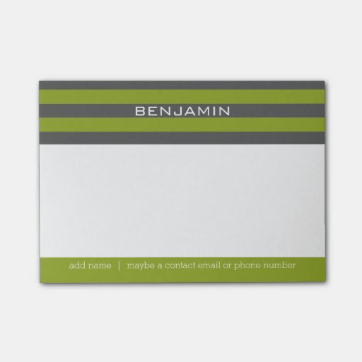 Lime Green and Gray Rugby Stripes with Custom Name Post-it® Notes