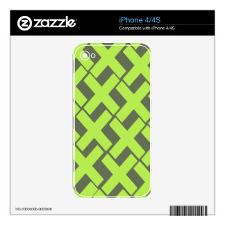 Lime Green and Gray Xs iPhone 4 Skins