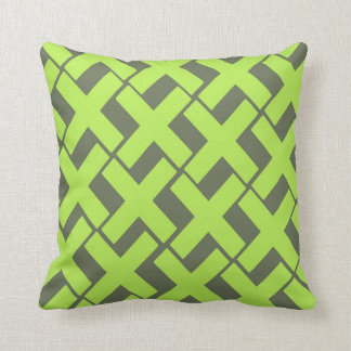 Lime Green and Gray Xs Throw Pillow