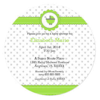 Lime Green and Grey Polka Dots Baby Shower Invitation