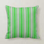 [ Thumbnail: Lime Green and Grey Stripes Throw Pillow ]