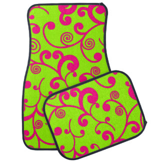 Lime Green and Hot Pink Scroll Design Car Mat