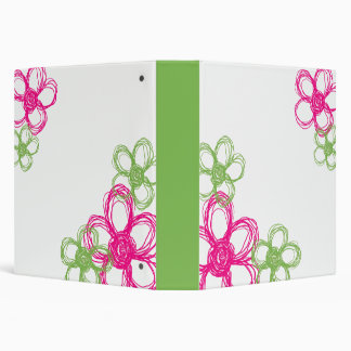 Lime Green and Hot Pink Wild Flowers 3 Ring Binders