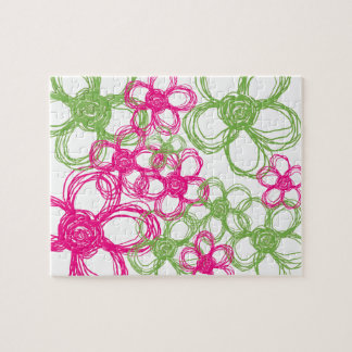 Lime Green and Hot Pink Wild Flowers Jigsaw Puzzle