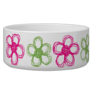 Lime Green and Hot Pink Wild Flowers Pet Food Bowl