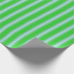 [ Thumbnail: Lime Green and Light Blue Colored Pattern Wrapping Paper ]