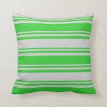 [ Thumbnail: Lime Green and Light Grey Colored Stripes Pillow ]