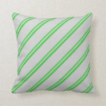 [ Thumbnail: Lime Green and Light Grey Lines Pattern Pillow ]