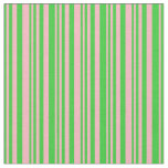 [ Thumbnail: Lime Green and Light Pink Colored Stripes Pattern Fabric ]