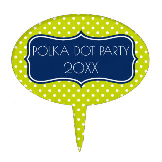 Lime Green and Navy Blue Polka Dot Personalized Cake Topper