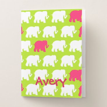 Beach Themed Lime green and pink elephants design pocket folder