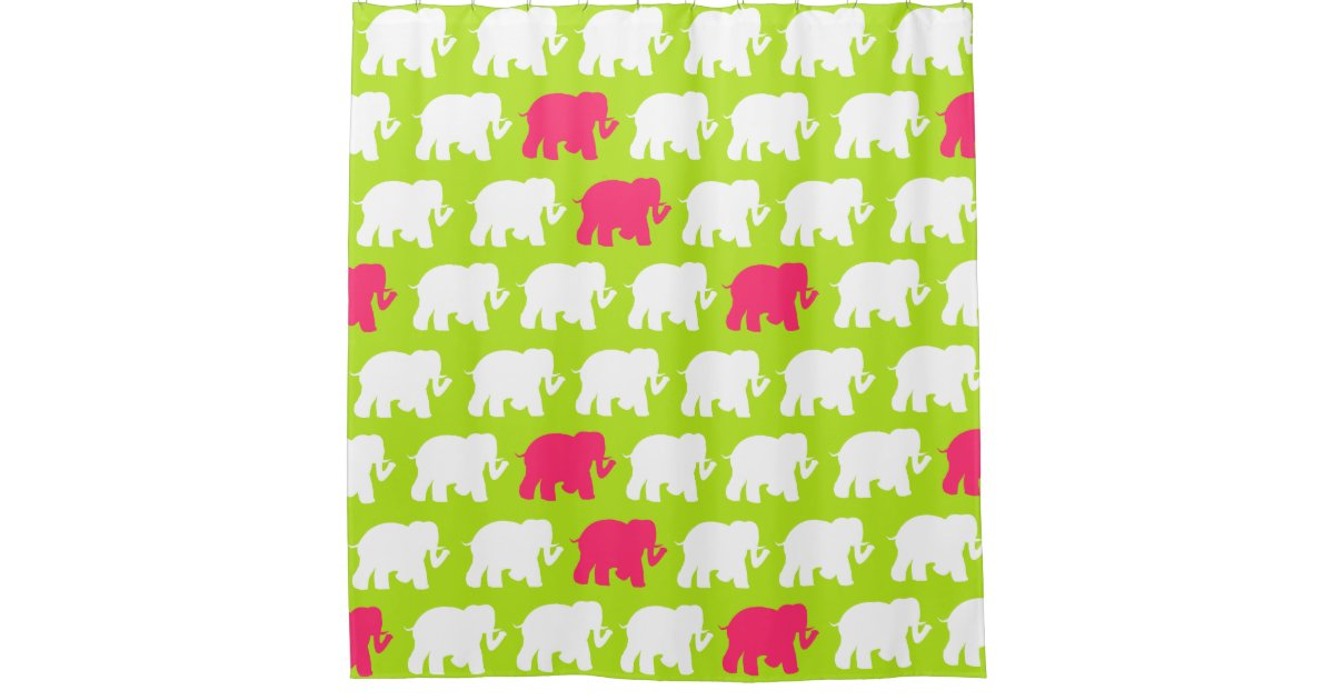 lime green and pink elephants shower curtain zazzle