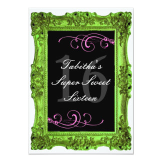 Lime Green and Pink Forma Sweet Sixteen Invitatio Card