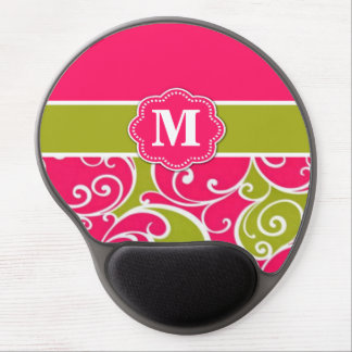 Lime Green and Pink Monogram Mousepad Gel Mouse Pad