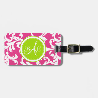 Lime Green and Pink Monogrammed Damask Print Tag For Luggage