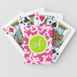 Lime Green and Pink Monogrammed Damask Print Card Deck