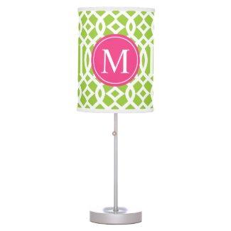 Lime Green and Pink Trellis Custom Monogram Table Lamp