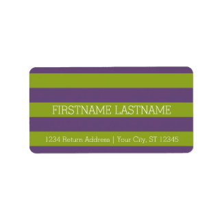 Lime Green and Purple Rugby Stripes Custom Name Label