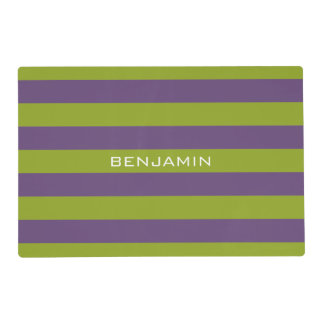 Lime Green and Purple Rugby Stripes Custom Name Placemat