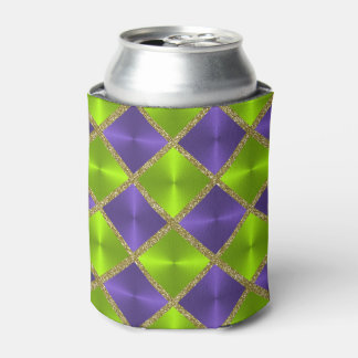 Lime Green and Purple with Gold Squares Can Cooler