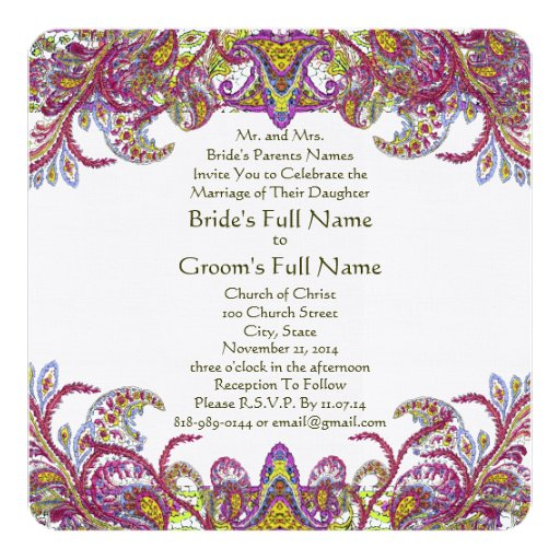 Lime Green and Raspberry Damask Wedding Invitation