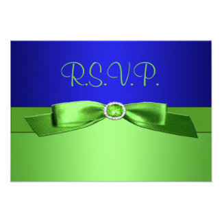 Lime Green and Royal Blue Reply Card Personalized Invite