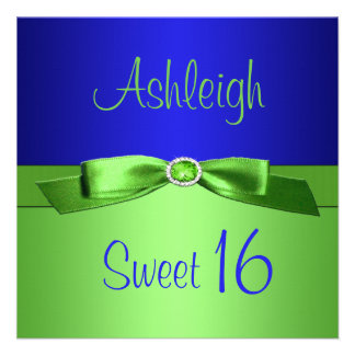 Lime Green and Royal Blue Sweet Sixteen Invitation