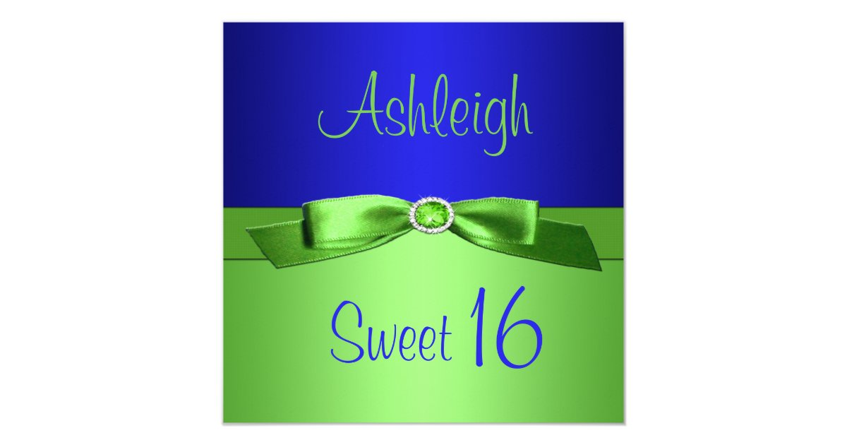 Royal Blue And Lime Green Wedding Invitations: Lime Green And Royal Blue Sweet Sixteen Invitation